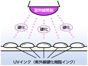 紫外線照射によってUVインク(紫外線硬化樹脂インク)が硬化する